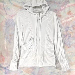Athleta white ribbed hooded active zippy jacket